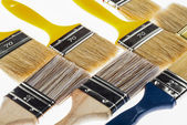 Many construction paintbrushes — Foto Stock