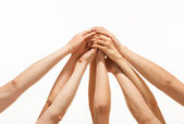 Successful team: many hands holding together — Stock Photo