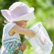 Little girl with butterfly net — Stock Photo