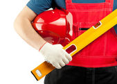 Construction worker with tools — Stock Photo
