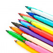 Diagonal fragment of opened colorful markers — Stock Photo