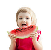 Cute little girl eating big slice of watermelon on white background — Stock Photo