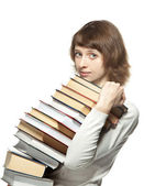 The young woman with books — Stock Photo