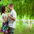 Cute young couple under green willow — Stock Photo