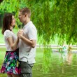 Stock Photo: Cute young couple under green willow