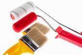 Bouw verfborstels en verf rollen — Stockfoto