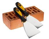 Tynkowanie Kit noże i cegły — Zdjęcie stockowe