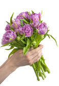 Hands holding bunch of flowers — Stock Photo