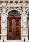 Closed up wooden door — Foto Stock