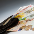 Euro banknotes in leather wallet and coins — Stock Photo