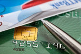 Credit cards and a pen — Stock Photo