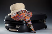Suitcase, summer hat and kerchief — Stock Photo