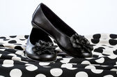 Pair of black flat shoes — Stock Photo