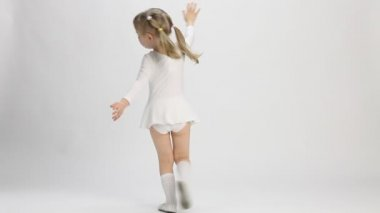 Charming little girl dancing in a studio — Stock Video