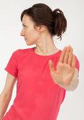 Dur şarkı gösteren kadın — Stok fotoğraf