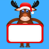 Christmas reindeer holding a white sign — Stock Vector