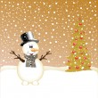 Royalty-Free Stock Vector Image: Snowman and Christmas Tree