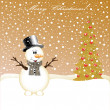Snowman and Christmas Tree — Stock Vector