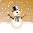 Christmas background with snowman — Stock Vector #16518695