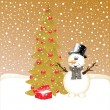 Royalty-Free Stock Vector Image: Smiling snowman near fir tree and gifts