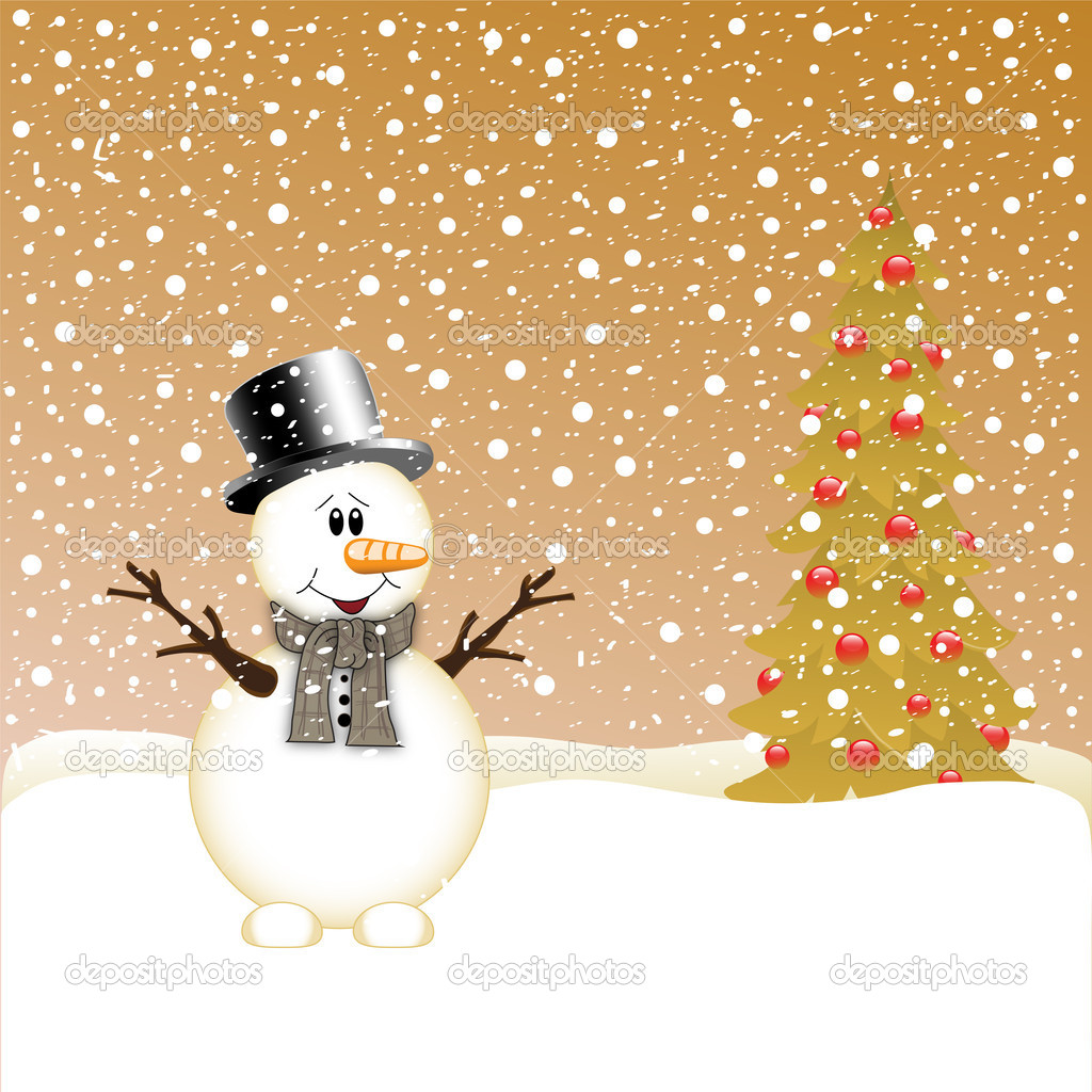 Snowman and Christmas Tree  — Stock Vector #16518687