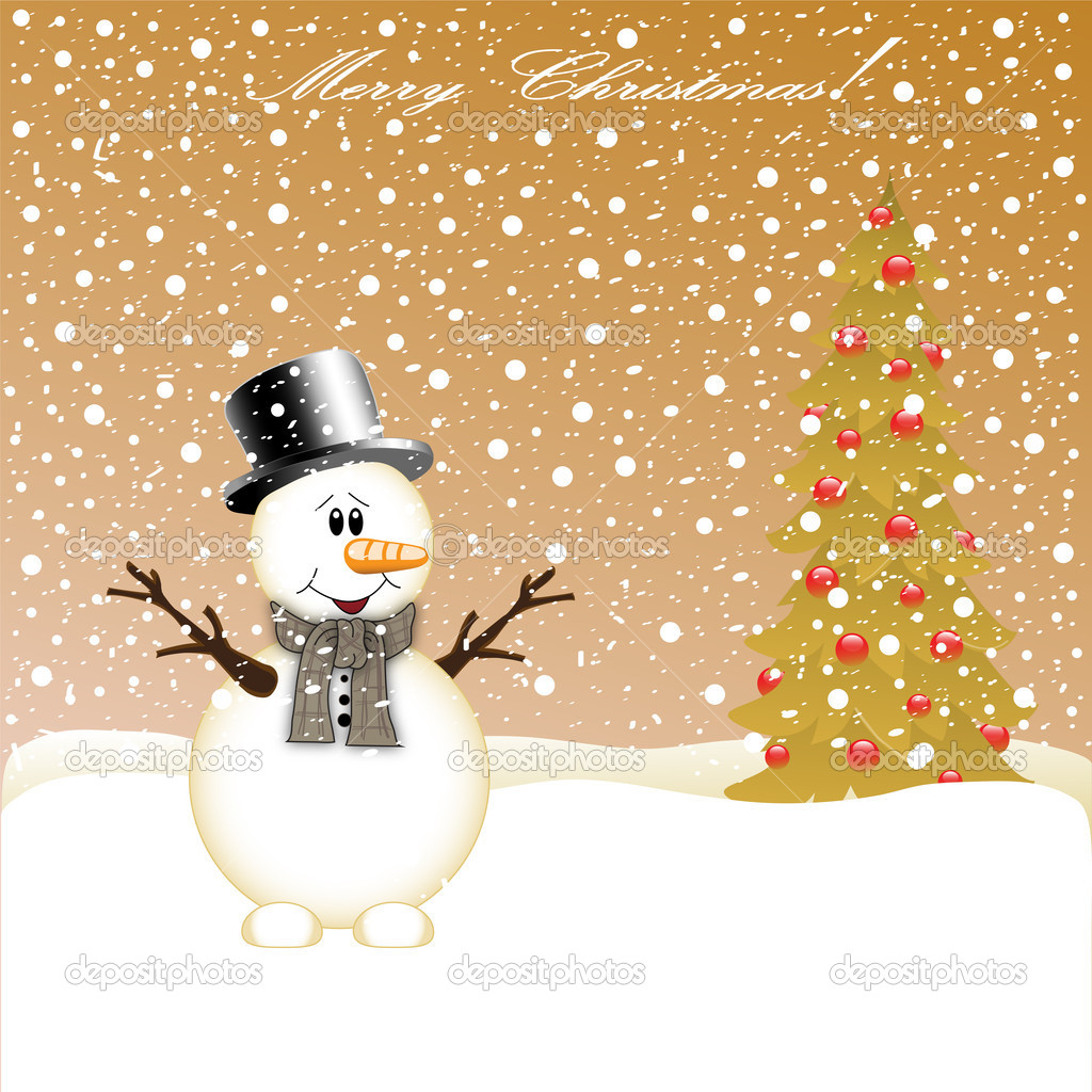 Snowman and Christmas Tree  — Stock Vector #16518689