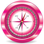 Pink compass on white background — Stock Vector