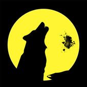 Wolf howling at the moon — Stock Vector