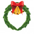 Christmas wreath with bells — Stock Vector