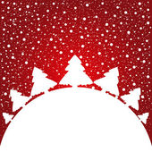 White Christmas tree on red background — Stock Vector