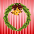 Stock Vector: Christmas wreath with bells