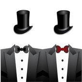 Set of tuxedos and hats — Stock Vector