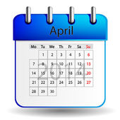 April calendar — Stock Vector