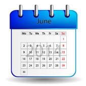 June calendar — Stock Vector