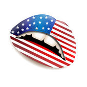 Female lips with American flag — Stock Vector