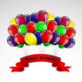 Happy Birthday Balloons Card — Stock Vector
