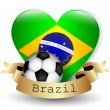 Brazil Flag Heart and soccer ball — Stock Vector #43846023