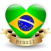 Heart with Brazil flag — Stock Vector