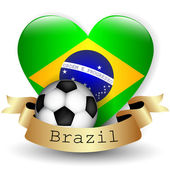 Brazil Flag Heart and soccer ball — Stock Vector