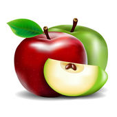 Green And Red Apple — 图库矢量图片