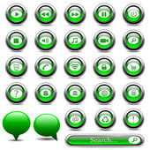 Set of green buttons — Stock Vector