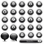 Set of black buttons — Stock Vector