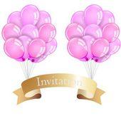 Tarjeta de invitación de globos — Vector de stock