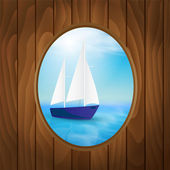 Window with a view of the sea. — Stock Vector