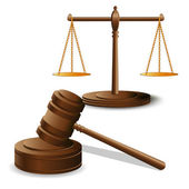 Scales justice and hammer — Stock Vector
