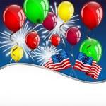 cartão do dia da independência com a bandeira americana e balões — Vetor de Stock  #46903701