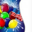 Independence Day card with American flag and balloons — Cтоковый вектор #46903809