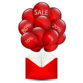 Balloons sale in an envelope — Stock Vector
