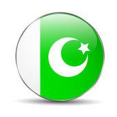 Pakistan Flag Button — Stock Vector