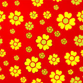 Yellow flowers on red background — Stock Vector